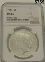 1923 PEACE DOLLAR NGC CERTIFIED MS65 FROM ORIGINAL GEM ROLLS BLAST WHITE #5755