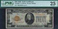 Fr.-2402* 1928 $20 Gold Certificate STAR Note Ser. *00240403A PMG VF-25