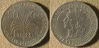 Guadeloupe : 1921 50 Ct AU-UNC Extremely Scarse In This Grade #45 IR8426
