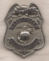 1950s Named US Marine Corps (USMC) Crash Crew Badge