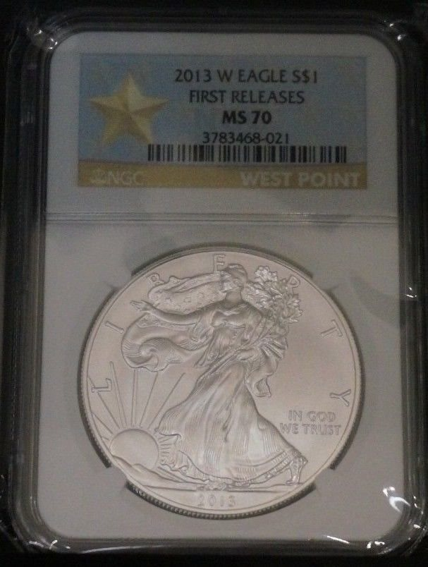 2013 $1 American Silver Eagle NGC MS70 First Releases Blue FR Label