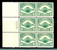 Scott#:C4 ,VF OG NH Left Margin Plate Block of 6