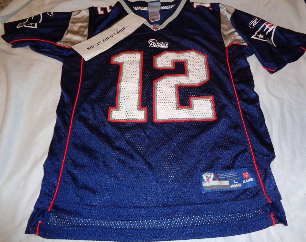 online store 6be59 51d96 Tom Brady #12 Jersey Reebok NFL New England Patriots Kids Youth Large 14-16