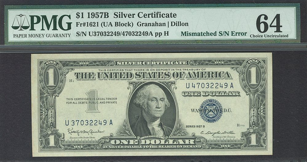 Mismatched Serial Number, 1957B $1 Silver Certificate,