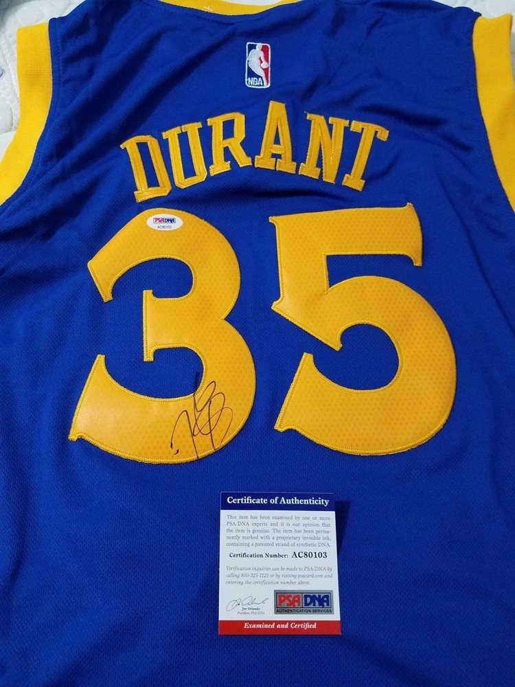 newest 924b6 fb7f9 Kevin Durant signed jersey PSA/DNA Golden State Warriors autographed