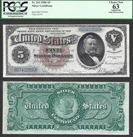 $5 1886 Silver Cert SILVER DOLLAR BACK Morgan Dollars Fr.263 PCGS Ch New 63