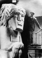 Portrait Of Sculptor Jacob Epstein With One Of His Sculptures OLD PHOTO