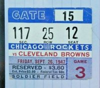 1947 Cleveland Browns vs Cleveland Rockets Football Game Ticket Stub Sep 26