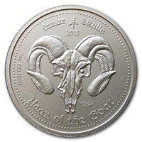 2015 DE Ghana 1 oz Silver Lunar Skulls Year of the Goat 1 OZ Brilliant Uncirculated