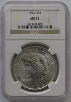 1923 Peace Dollar MS64 NGC