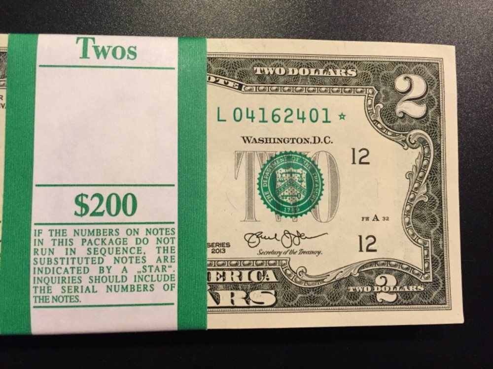 STAR NOTE $1 Dollar Bill 2013 Consecutive Uncirculated St Louis