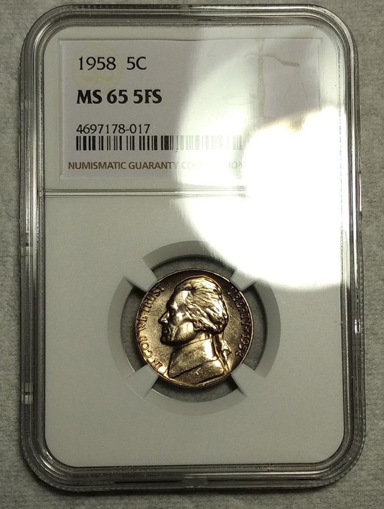 NGC MS-65 5FS 1958-P Jefferson Nickel! Incredibly Scarce Full Steps