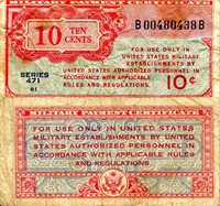 USA - Military 10 Cents Pick #: m9 1947 F/VG (see scan) North and Central America