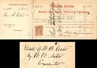 Morris and Essex Railroad Company signed by Wm. Waldorf Astor