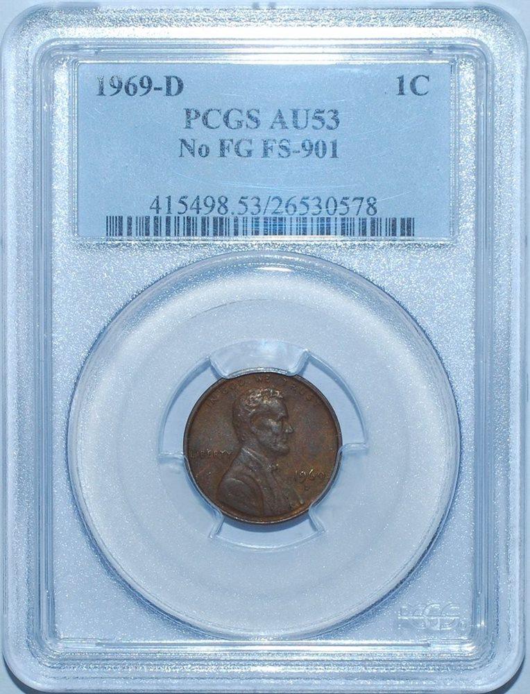 1969 D PCGS AU53 No FG FS-901 Lincoln Cent, AU53BN - PCGS Auction Prices