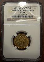 1761 Netherlands Groningen & Ommeland 7 Gulden Gold NGC MS62 Unc GEM Very Rare