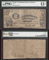 $5 1861=T-35=EXTREMELY RARE=CONFEDERATE=PRINCESS NOTE=PMG FINE 12