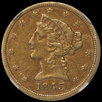 JUST ADDED - $5.00 - 1843-D Small D NGC AU50