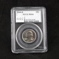 1968 D Washington Clad Quarter, PCGS MS66, Gem Uncirculated, Graded in Holder
