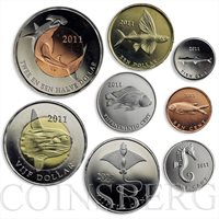 St. Eustatius, set of 9 coins, Fishes 2011