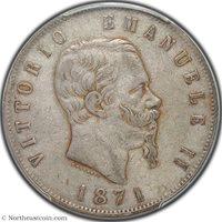 1871-M BN 5 Lire Italy PCGS XF40