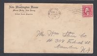 USA 1920 NEW WASHINGTON HOUSE HOTEL COVER MOUNT HOLLY TO CAMDEN NEW JERSEY