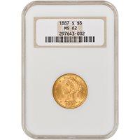 US Gold $5 Liberty Head Half Eagle NGC MS62 Random Date