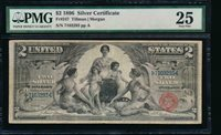 AC Fr 247 1896 $2 Silver Certificate EDUCATIONAL PMG 25