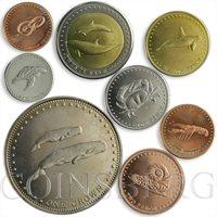 Tristan da Cunha, set of 7 coins, Oceanic fauna Whale Dolphin Shrimp Crab 2008
