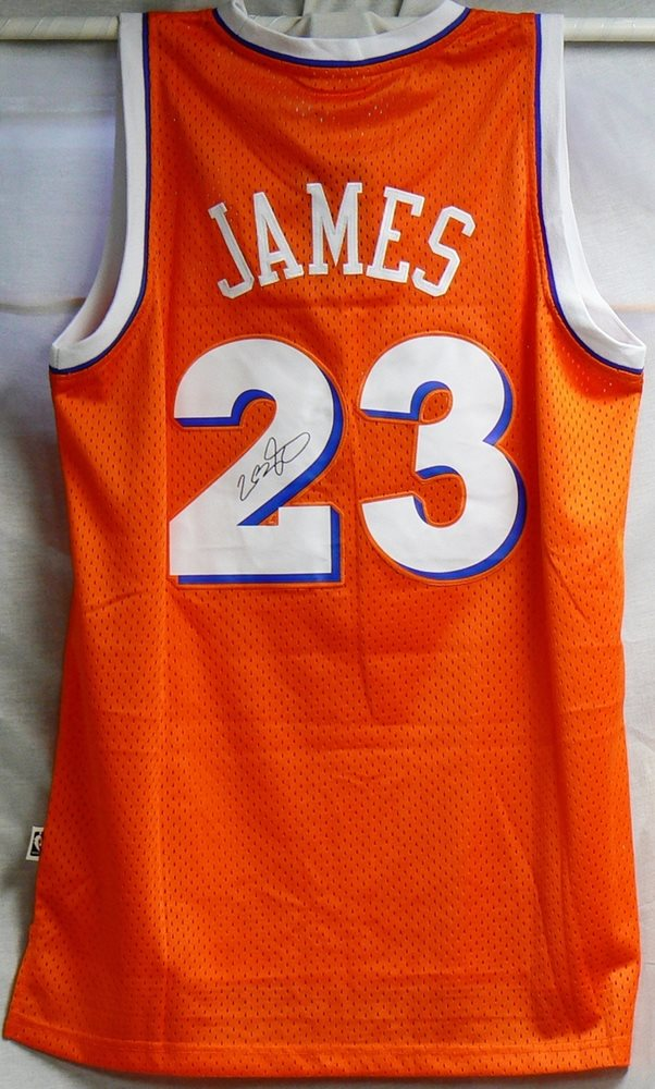 buy popular 63121 b09a6 LeBron James Autographed Orange Cavaliers Jersey