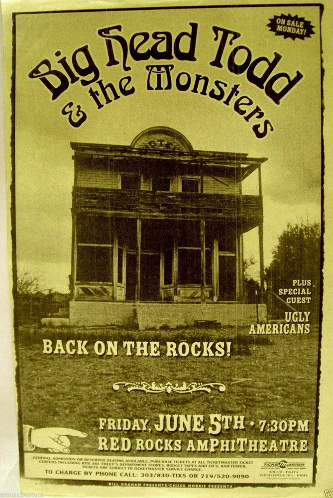 BIG HEAD TODD & THE MONSTERS 1998 DENVER CONCERT POSTER - Blues Rock Music