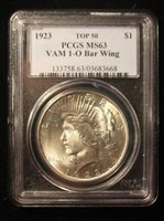 $1 1923 Silver Peace Dollar PCGS MS 63 Vam 1O Bar Wing