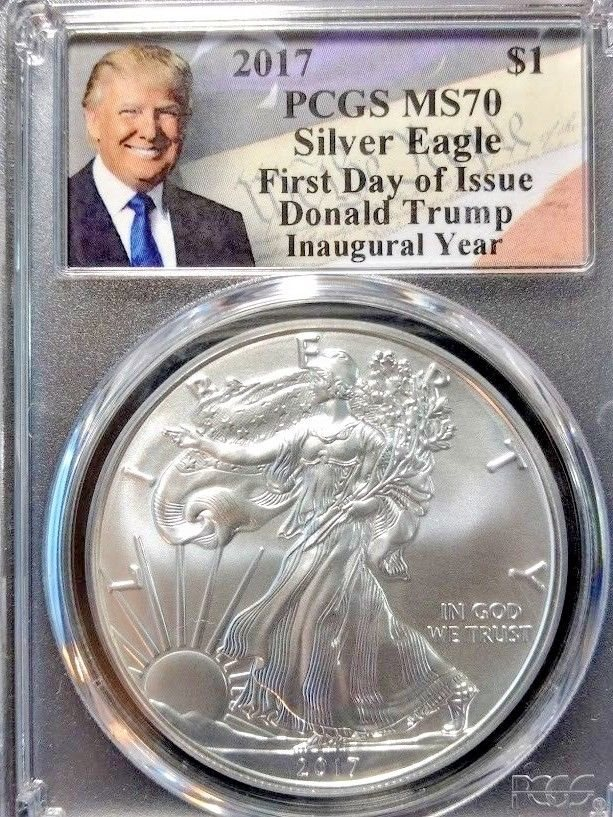 2017 Silver Eagle Dollar PCGS MS70 Trump First Day Issue Label Coin FDI ASE C35
