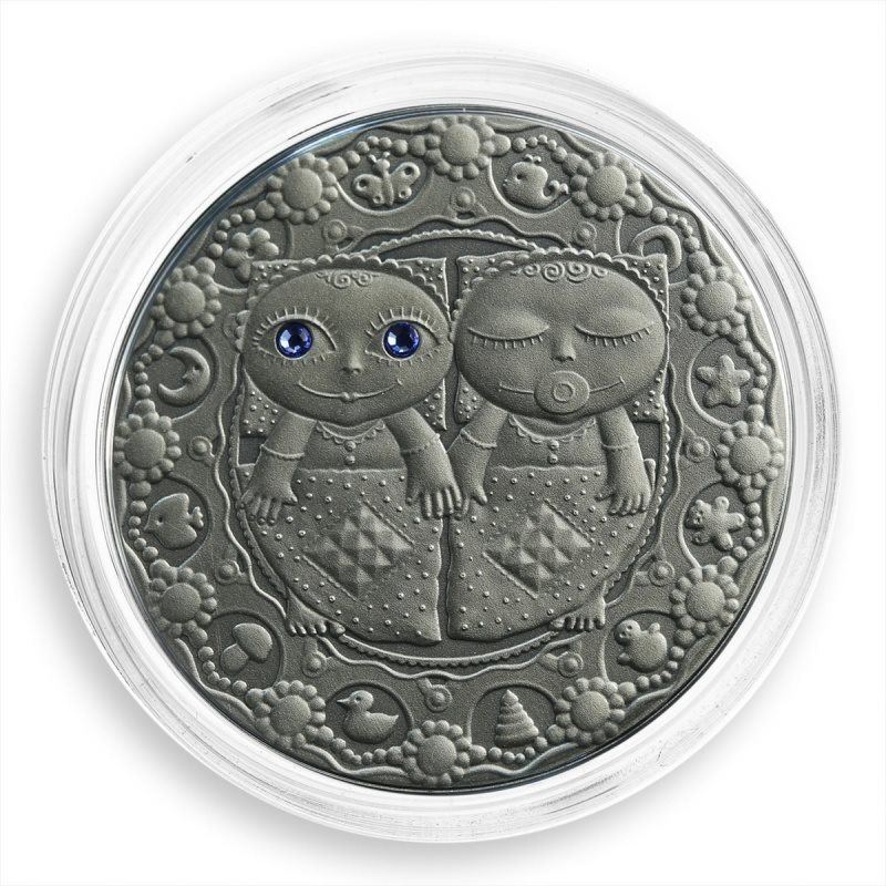 Belarus 20 rubles 2009 silver zircons Aries Zodiac Signs coin