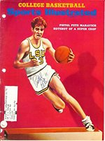 """Pistol """"Pete"""" Maravich Autographed Signed Sports Illustrated Cover LSU - PSA/DNA Certified - Autographed College Magazines"""