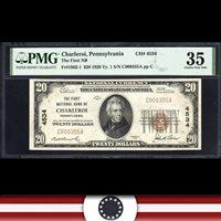 1929 $20 CHARLEROI, PA NATIONAL BANK NOTE PMG 35 WASHINGTON COUNTY C000355A