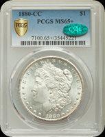 1880-CC $1 Morgan Dollar Pop (2687/900), GOLD CAC (1/0... MS65 CAC PCGS