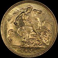 1908 Melbourne Half Sovereign Choice Unc (PCGS MS63)Description: