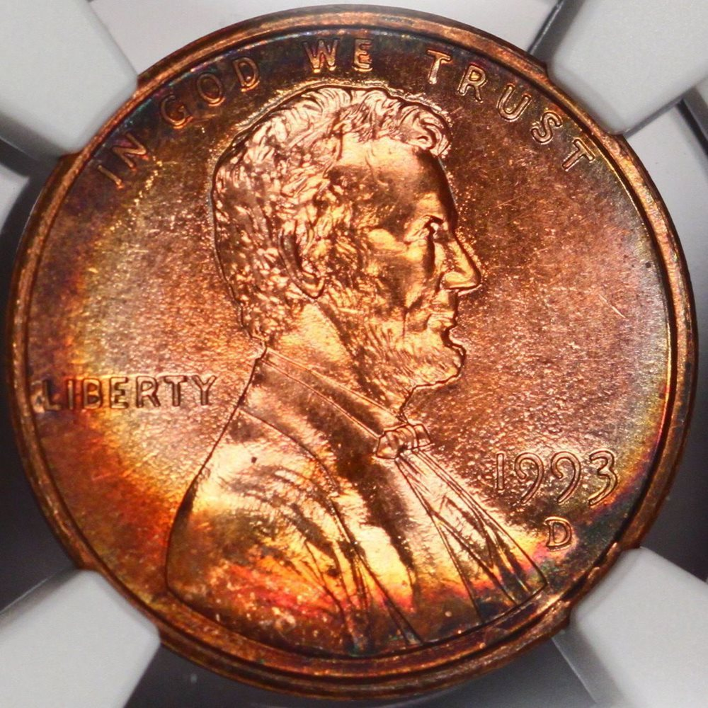 1993-D Lincoln Cent NGC MS 63 RB Memorial Penny Rainbow