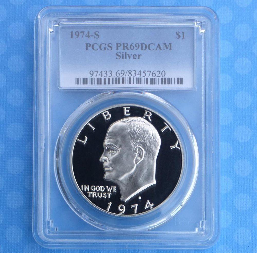 Moon Landing Reverse 1972 S PCGS PR 69 D-Cam Eisenhower Proof Silver $1