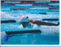 FELICIA LEE signed 8.5x11 photo COA SWIMMER SWIMMING GOLD MEDAL USA STANFORD