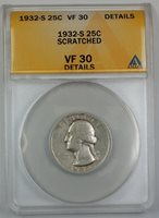 1932-S Silver Washington Quarter, ANACS VF-30, Details, Scratched
