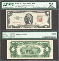 $2 1953-B USN ERROR MISALIGNED OVERPRINT RARE 4th PRINT SHIFT PMG ABT UNC 55