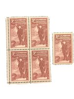 #1064 – 1955 3¢ Pennsylvania Academy of Fine Arts - Block of 4 and a Single -