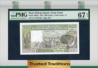 500 Francs 1987 West African States / Ivory Coast Pmg 67 Epq Pop One
