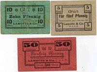 Billet et carton Deutschrumbach, Lamotte et cie, 5,10 et 50 pfennig, 1 Décembre 1916, P 69 96/98 10 Pf Ttb, 5 et 50 Superbe
