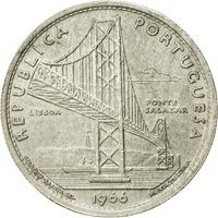 Portugal 20 escudos Ponte Salazar Bridge Silver 1966 Ag UNC