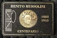 TOKEN EXONUMIA SILVERED COIN MUSSOLINI 20 LIRES 1943 ITALY