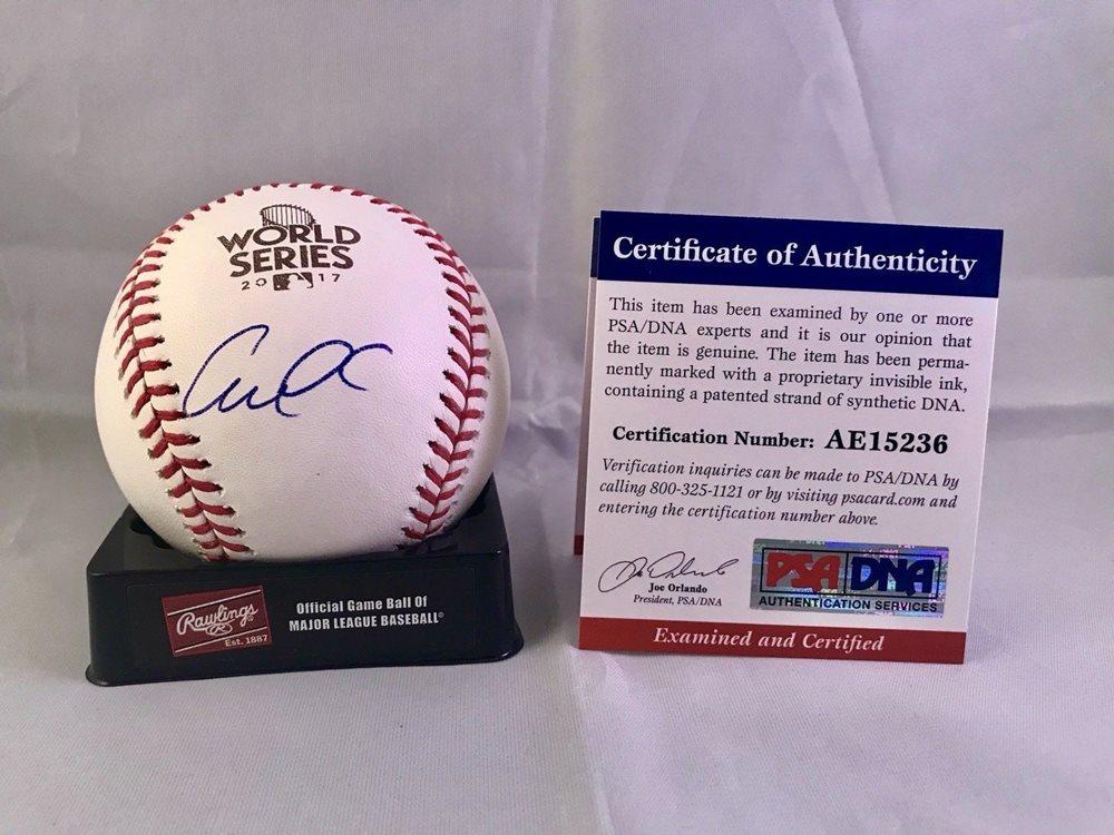 e10bad2c9 Carlos Correa Autographed Signed 2017 World Series Baseball Houston Astros  PSA/DNA CertCUSTOM FRAME YOUR. Click To Enlarge