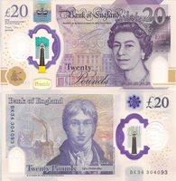 """England 20 Pounds Pick #: New 2020 UNCOther Banknote of the year 2020 nominee Purple Queen Elizabeth II; Houses in background; Joseph Turner; ships in backgroundNote 5 1/2"""" x 2 3/4"""" Europe Queen Elizabeth II - Hologram effect"""